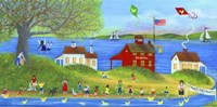 Rubber Dickie Race At Little Red School House Folk Art Fine Art Print