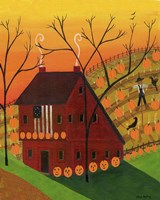 Sunset Pumpkin Saltbox Fine Art Print