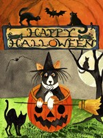 Happy Dog Pumpkin Halloween Fine Art Print