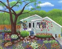 Cats and Dog at Garden Folk Art House Fine Art Print