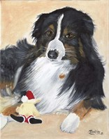 Collie Sal and toy Fine Art Print