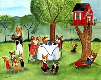 Corgi Dog Tea Party Fine Art Print
