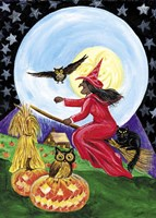 Red Witch Halloween Moon Fine Art Print