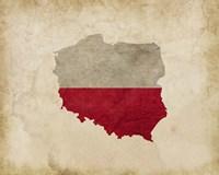 Map with Flag Overlay Poland Fine Art Print