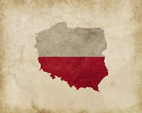 Map with Flag Overlay Poland Fine Art Print