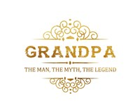 Grandpa: The Man, The Myth, The Legend - White and Gold Fine Art Print