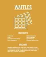 Waffle Recipe White on Yellow Fine Art Print