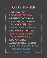 God's Top Ten Stitch Border - Pink Fine Art Print