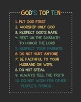 God's Top Ten Stitch Border - Orange Fine Art Print