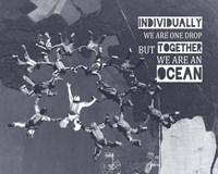 Together We Are An Ocean - Skydiving Team Grayscale Fine Art Print