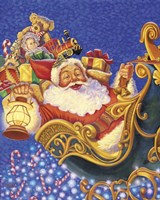 Santa Sleigh Sparkles Fine Art Print