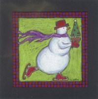 Skating Snowman Fine Art Print