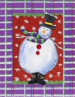 Happy Snowman in Boots Fine Art Print