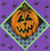 Jack o Lantern with Purple Spiders Fine Art Print