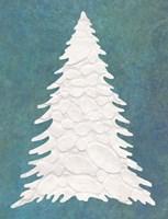 Snowy Fir Tree on Blue Fine Art Print