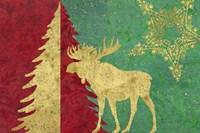 Xmas Tree and Moose Fine Art Print