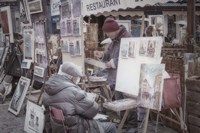 Monmartre Artist Working On Place du Tertre I Fine Art Print