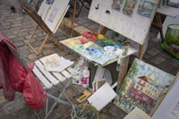 Monmartre Artist Working On Place du Tertre III Fine Art Print