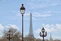 Street Lamps And Eiffel Tower Fine Art Print