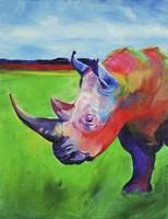 Painted Rhino Fine Art Print