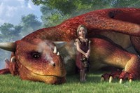 A Little Girl And Her Dragon Fine Art Print
