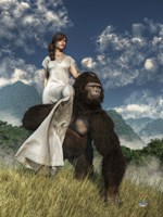 Ape And Girl Fine Art Print