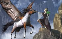 Elf Summoning A Pegasus Fine Art Print
