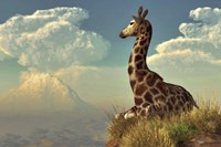 Giraffe And Distant Mountain Fine Art Print