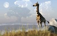 Giraffe And Giant Tree Fine Art Print
