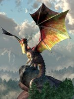 Yellow Winged Dragon Fine Art Print