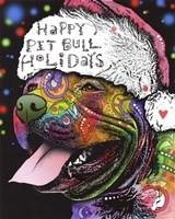 Christmas Pitbull Fine Art Print