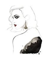 Art Deco Vamp Girl Earring Fine Art Print