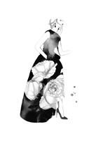 Black & White Peony Gown Fine Art Print