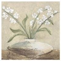 White Flowers in Brown Fine Art Print