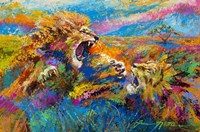 Pride Fight in the Savanna - African Lions Fine Art Print