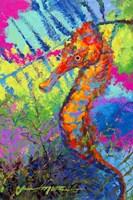 Miniature Majesty of the Ocean - Orange Caribbean Longsnout Seahorse Fine Art Print