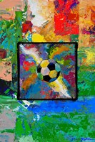 Window into the Soccer Universe-  Red and Green Football Fine Art Print