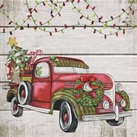Vintage Christmas Truck-C Fine Art Print