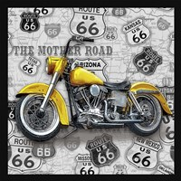 Vintage Motorcycles on Route 66-V Framed Print