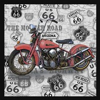 Vintage Motorcycles on Route 66-W Framed Print