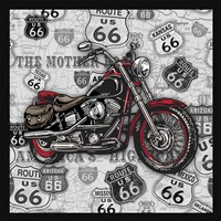 Vintage Motorcycles on Route 66-1 Framed Print