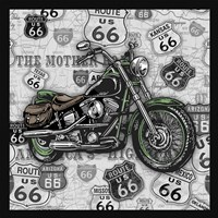 Vintage Motorcycles on Route 66-2 Fine Art Print