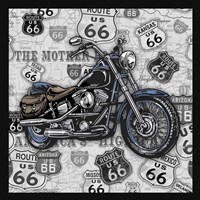 Vintage Motorcycles on Route 66-3 Framed Print