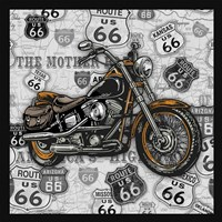 Vintage Motorcycles on Route 66-4 Framed Print