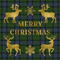 Merry Christmas Plaid - Gold & Green Fine Art Print