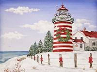 Christmas Lighthouse Fine Art Print