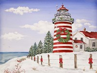 Christmas Lighthouse Fine Art Print
