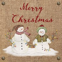 Christmas on Burlap- Merry Christmas 3 Fine Art Print