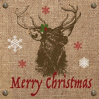 Christmas on Burlap - Merry Christmas 2 Fine Art Print