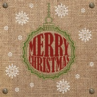 Christmas on Burlap - Merry Christmas 1 Fine Art Print